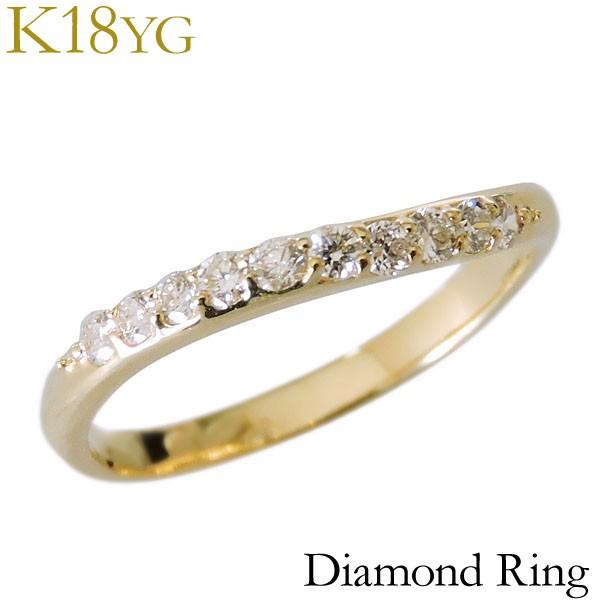 リング ダイヤモンド 10石 0.20ct K18イエローゴ...
