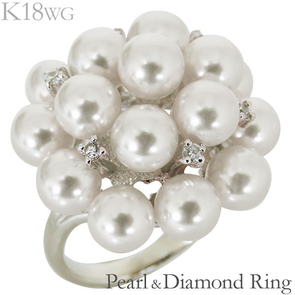 リング フラワーモチーフ 複数珠 あこや本真珠 0....