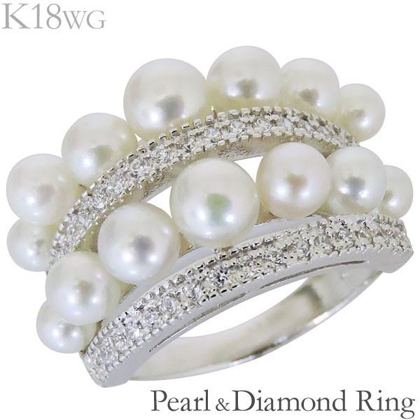 リング 複数珠 パヴェ あこや本真珠 0.30ct ダイ...