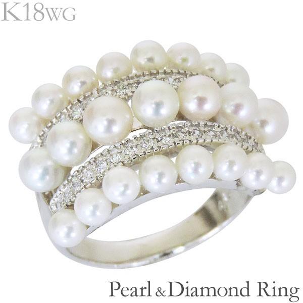 リング 三列 複数珠 パヴェ あこや本真珠 0.28ct ...