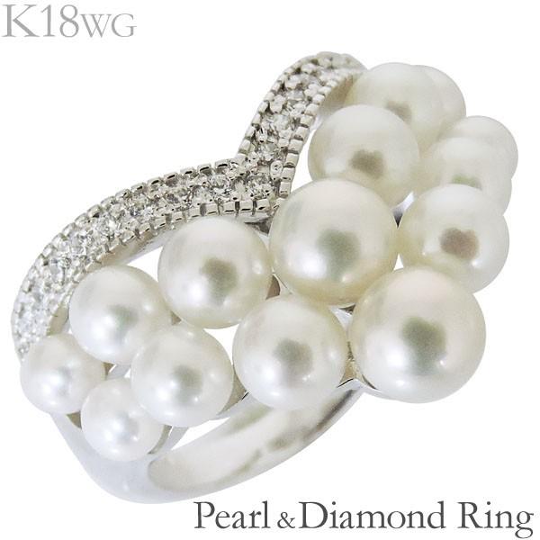 リング ハート型 マルチプル パヴェ あこや本真珠...