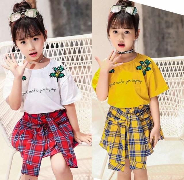 韓国子供服 女の子2点セット半袖パイナップルの...