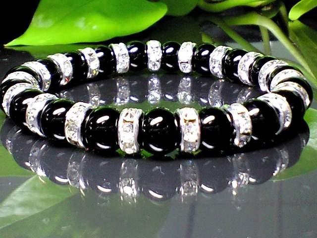人気黒数珠ブラックオニキス黒瑪瑙銀色ロンデル8...