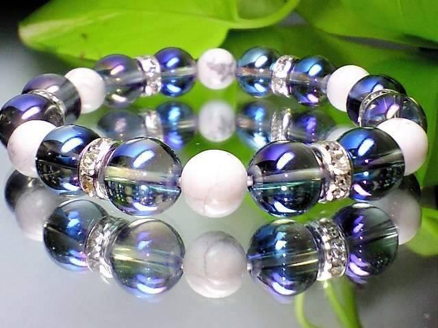 蒼と白の色合い天然石◆ブルーオーラ コスモオー...