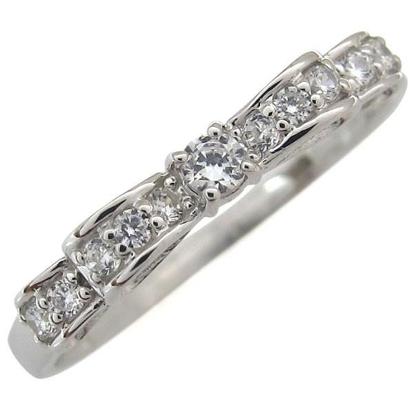 プラチナ・ダイヤモンド・婚約指輪・リボン・リン...