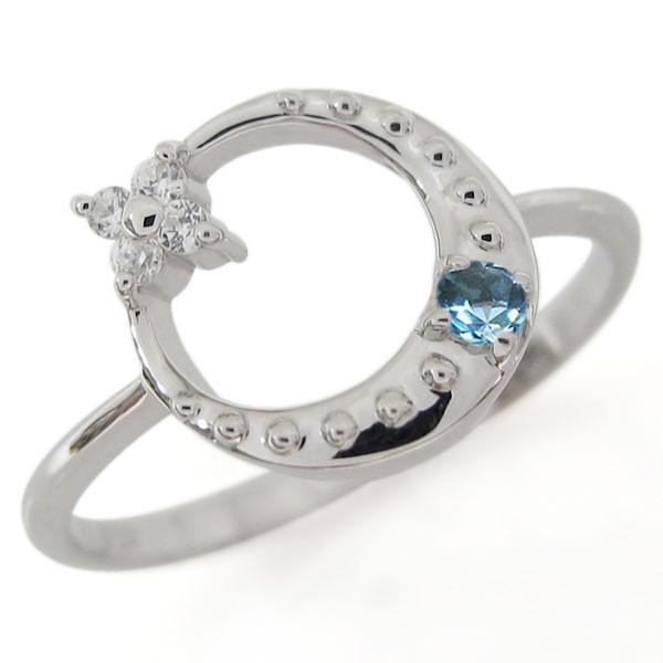 ブルートパーズ 星 月 スターリング 指輪 シルバ...