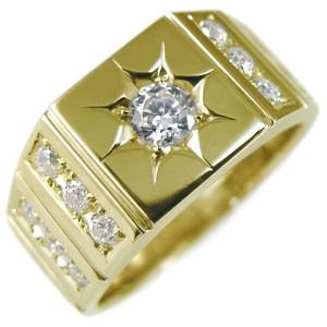 ダイヤモンド メンズリング 18金 地金 印台リング...