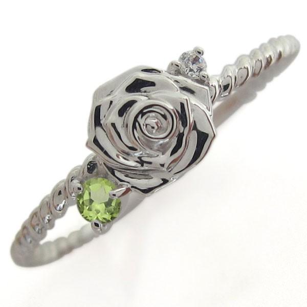 ペリドット リング 薔薇モチーフ 指輪 シルバーア...