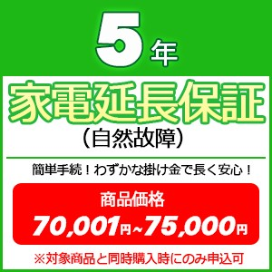 5年家電延長保証(自然故障) 【商品価格\70001〜...