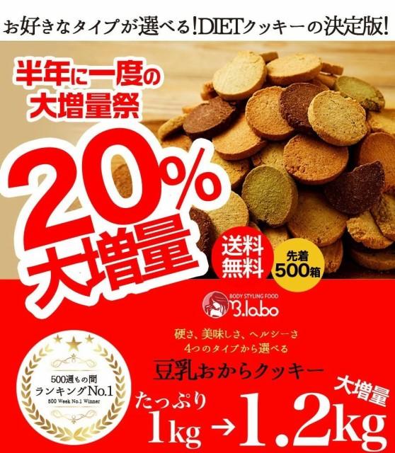 今だけ増量【訳あり豆乳おからクッキー 1kgが1.2kg】※冬のおからクッキーは10月8日以降発送※大豆の恵みがたっぷり!4つの