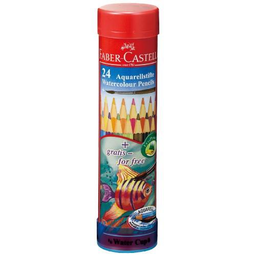 水彩用品 ファーバーカステル 水彩色鉛筆丸缶24色...