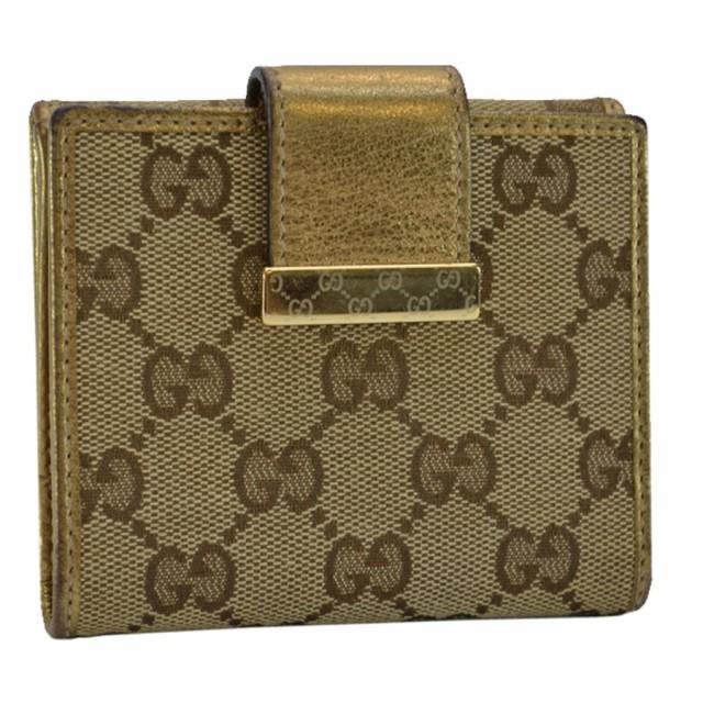 グッチ GUCCI Wホック 二つ折り財布 GG ◆ベージ...