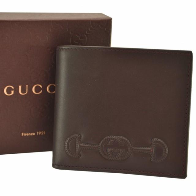 美品 グッチ GUCCI 二つ折り 財布  ◆ダークブラ...
