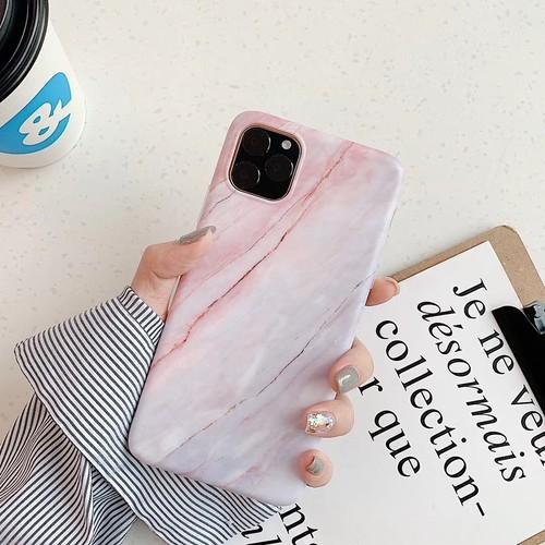LAZA 【iPhone11 サンゴ色】大理石調iPhoneケース...