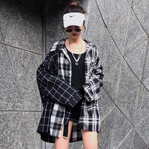 LAZA  【ブラックチェック】長袖シャツ ボリュー...