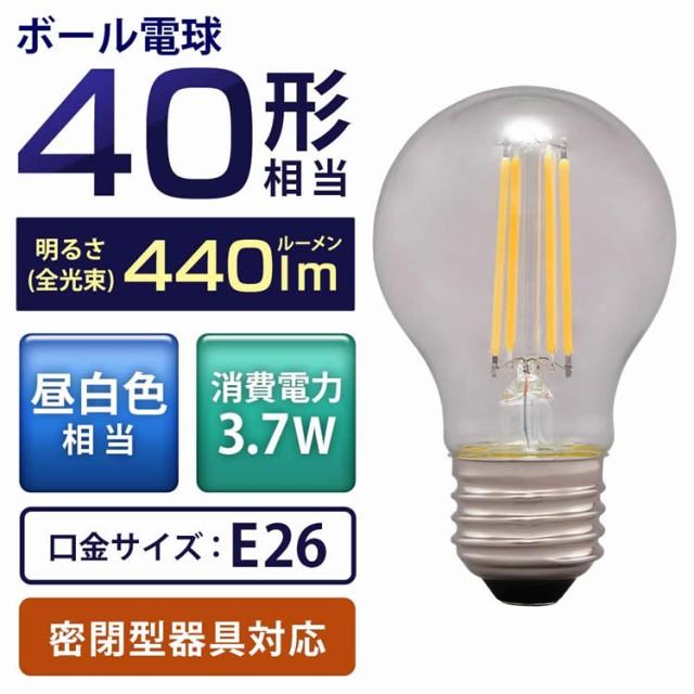 LEDフィラメント電球 ミニボール球タイプ E26 40...