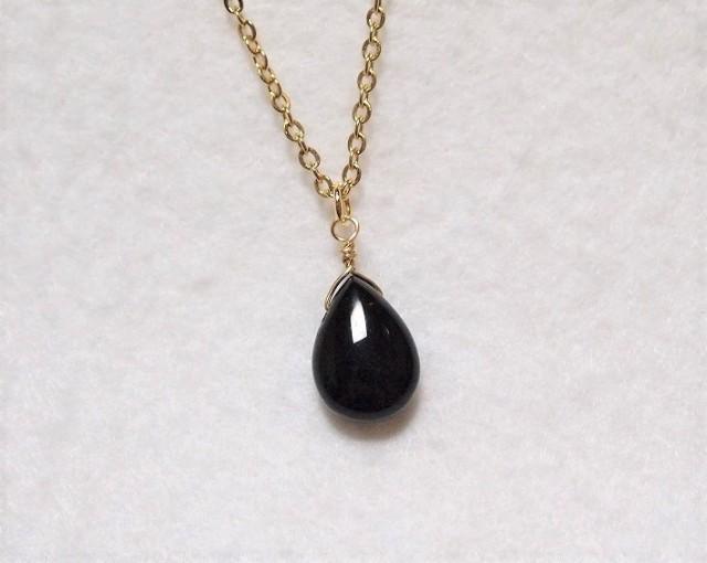 モリオン(黒水晶)のしずくネックレス2 霊的防...