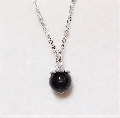 天然モリオン(黒水晶)のシンプル一粒ネックレス...