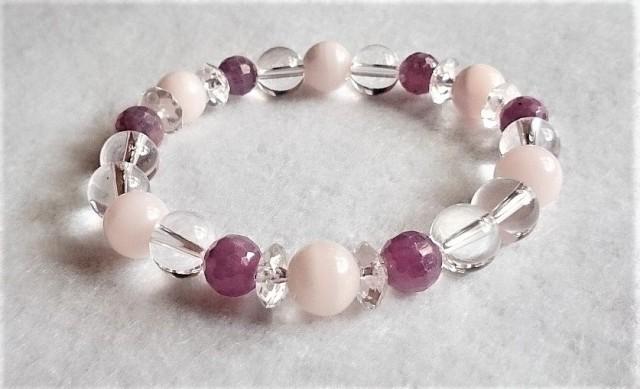 ルビー・ピンクカルサイトのブレスレット2 宝石...