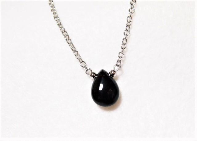 モリオン(黒水晶)のしずくネックレス 霊的防御...