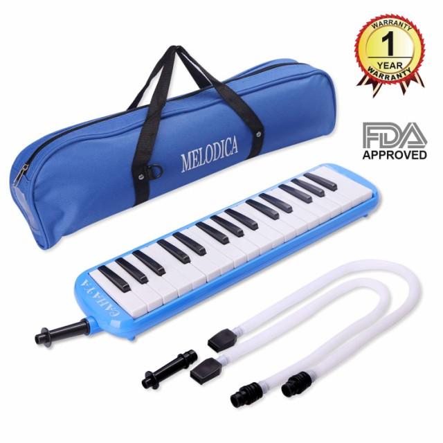鍵盤ハーモニカ 32鍵 ブルー 卓奏用パイプ セッ...