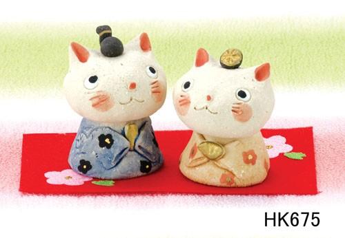 ねこちゃんが可愛い★ひな祭りを飾る陶製の雛人形...