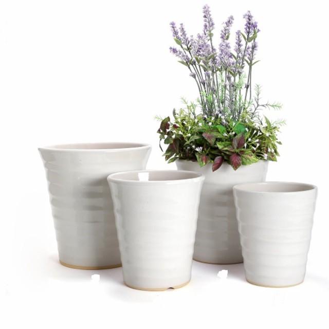 【在庫一掃の破格値処分】白い陶器製の植木鉢3鉢...