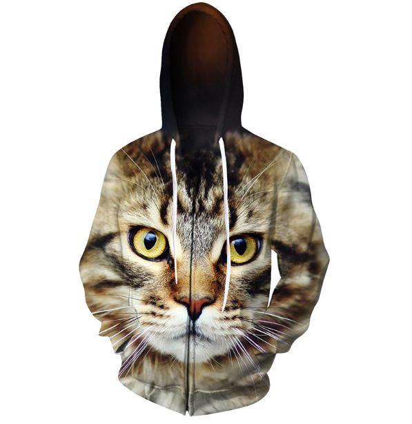 猫 猫柄 パーカー おもしろ フーディ ジッパー メ...