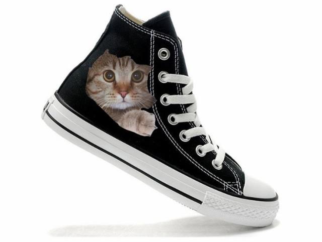 猫 猫柄 スニーカー ハイカット レディース かわ...