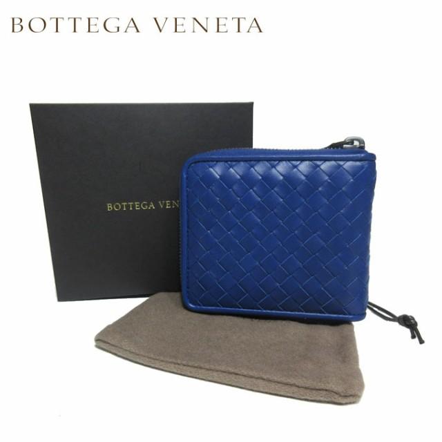 ボッテガヴェネタ BOTTEGA VENETA 財布 464904-V4651-4234 イントレチャート レザー ラウンド ジップ 二つ折り財布(小銭入れ無し) ブル