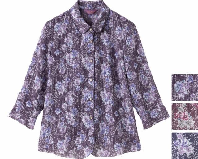 7分袖花柄ブラウス 98403 ケアファッション