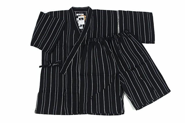 男物甚平(黒×白・水色縞) 5Lサイズ 男甚平 綿麻 ...