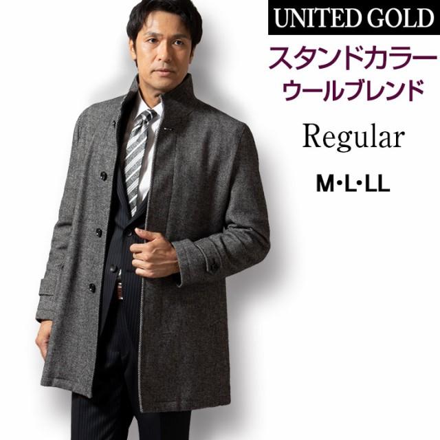 コート メンズ ウール混 軽い 暖かい スタンドカ...