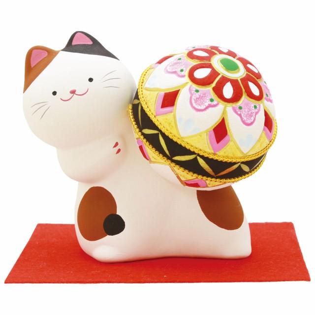 「のぞきまり猫 貯金箱 敷物付」手作り陶製 和...
