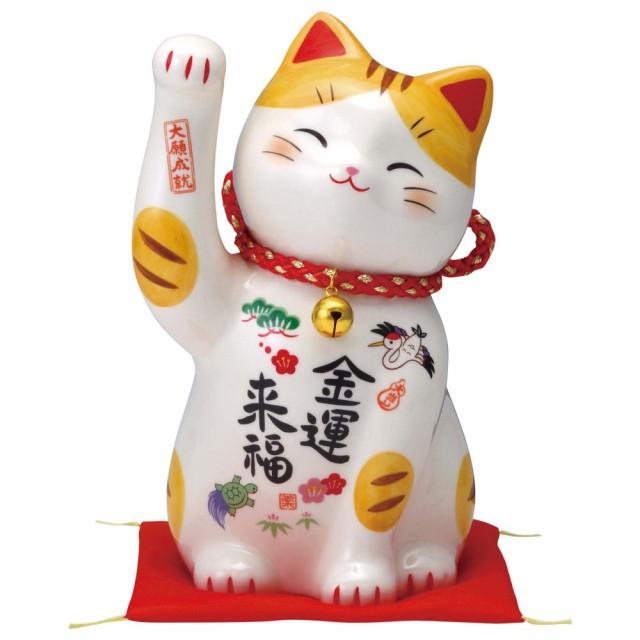 「彩絵金運来福招き猫(鈴付) ザブトン付」陶器 ...