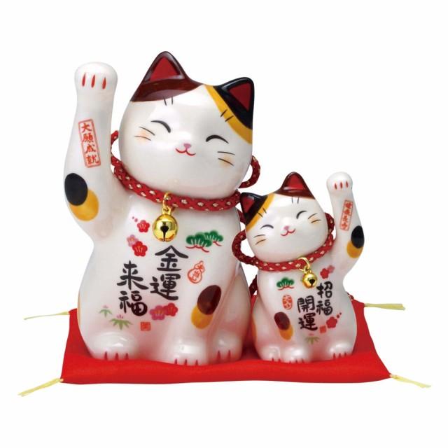 「彩絵萬福招き猫セット(鈴付・金運親子) ザブト...