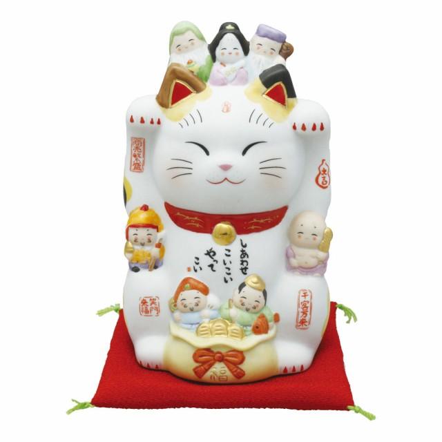 「彩絵七福神 招き猫4.5号 ザブトン付」 猫の...