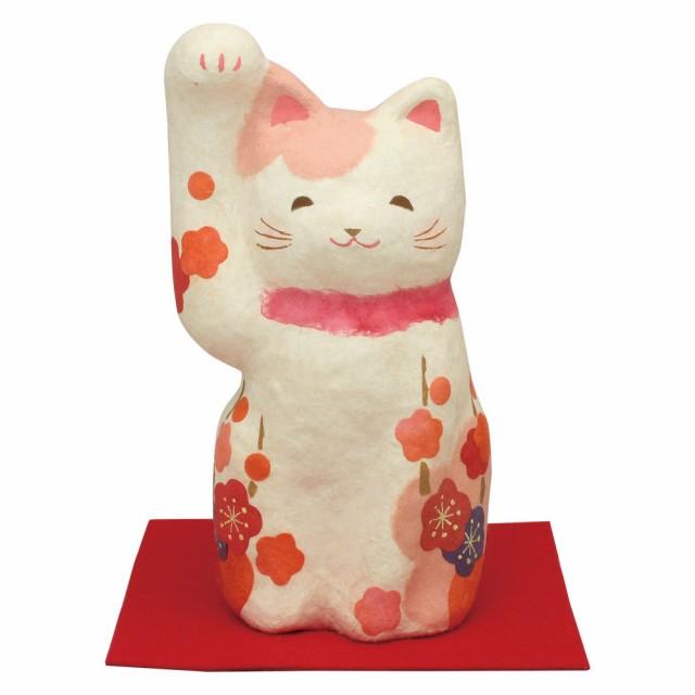 「ちぎり和紙 花笑み(小)和み招き猫 敷物付」手...