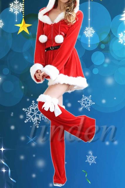 [linden] サンタ服 クリスマス レディース サンタクロース  コスプレ かわいい ワンピース Christmas コスチューム 仮装 女性用