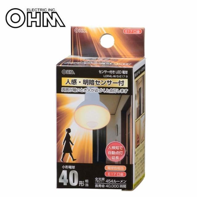 OHM LED電球 レフランプ形 E17 40形相当 人感・明...