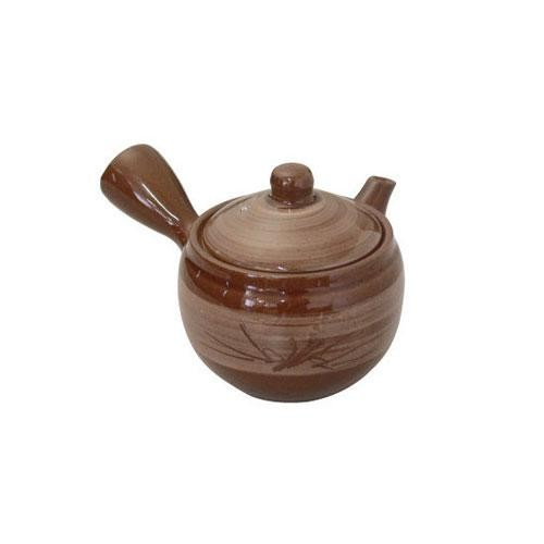 急須(サークル網)茶釉夏目型 2125-0090
