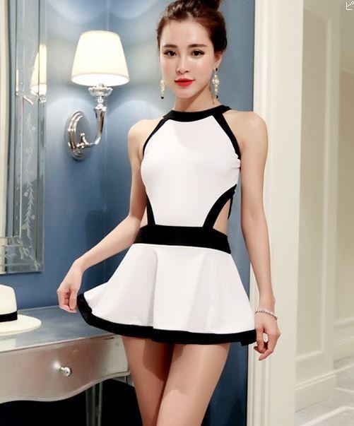 人気の白と黒 セクシーワンピースドレス水着 フ...