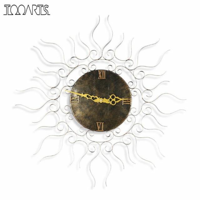 Tooarts 太陽 スチール 壁掛け時計(T12177)