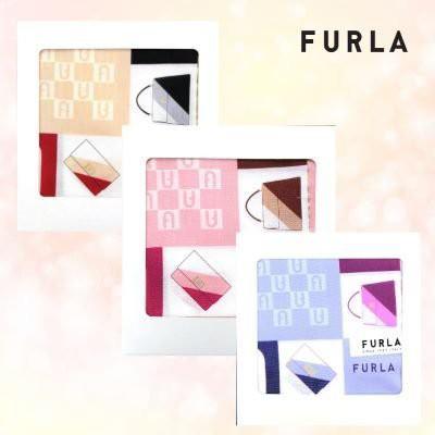 FURLA フルラ プリントハンカチ ロゴ+縁ハンドバ...