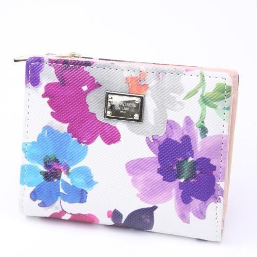 財布 二つ折り プレート付 花柄 レディース ウォ...