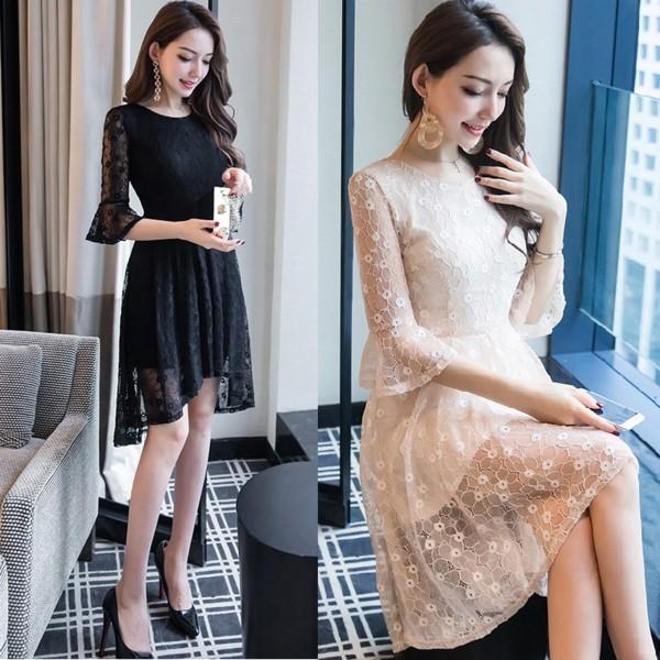 ◇S〜5L★ 袖フリル フィッシュテール 美人ドレス...