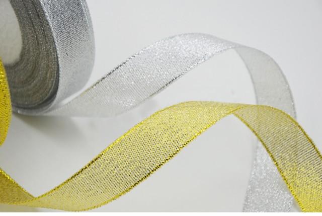 2CM巾ラメリボン ゴールド シルバー 金色 銀...