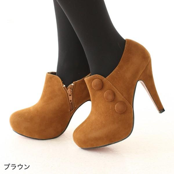 即納 ボタンが可愛いショートブーツ 靴 美脚 レデ...