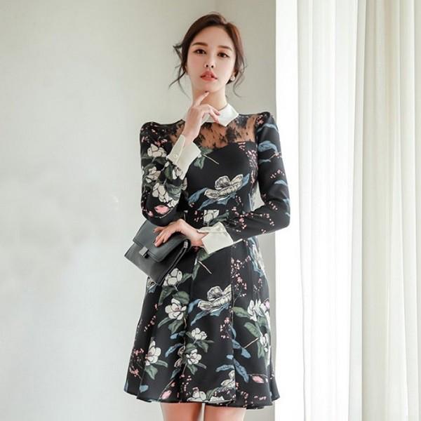 ドレス 通販 韓国 ワンピース 花柄 スリム Aライ...