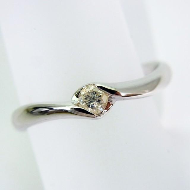 【中古】K18WG ダイヤモンド リング 8.5号 [f176-...